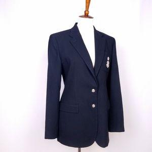 Wool Ralph Lauren Crested Blazer Black Size 6